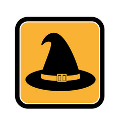 square frame of halloween with witch hat vector image