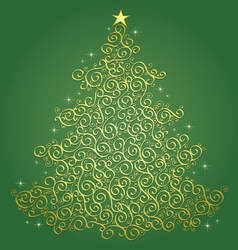 Gold filigree Christmas tree-Green Background vector image