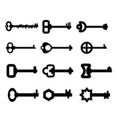 keys Set silhouette of old key from door Vintage vector image
