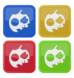 set of four square icons with halloween pumpkin vector image