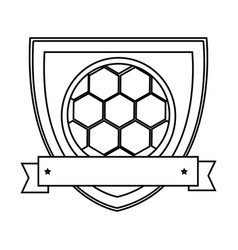 silhouette shield with ribbon with soccer ball vector image