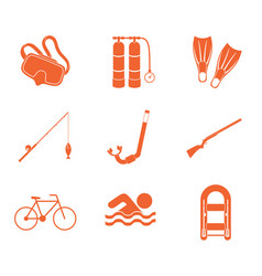 sport and recreation icons set vector image vector image