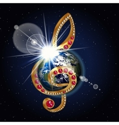 treble clef gems Earth flash space vector image