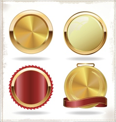 badges of gold and red seal set vector image vector image