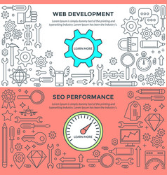 banners for web development and performance vector image vector image