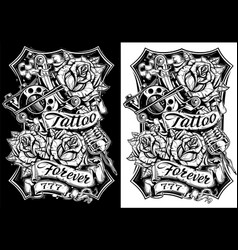 Black and white graphic tattoo machine and roses vector