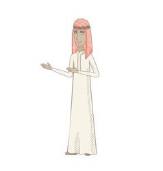 Young muslim happy man gesturing vector