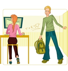 Boy and girl in classroom vector image vector image