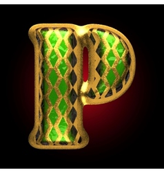 golden and green letter p vector image vector image