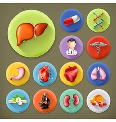 Medicine and Health long shadow icon set vector image vector image
