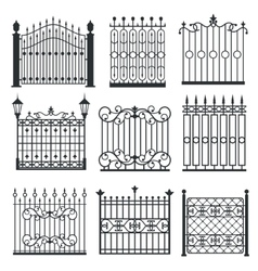 Metal iron gates grilles fences set vector image