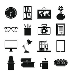 set flat black silhouette office and house items vector image