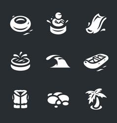 set of aqua park icons vector image vector image