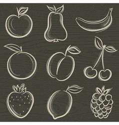 set of fruits fruit applepear banana orange plum vector image