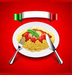 spaghetti with cutlery and italian flag on red vector image vector image
