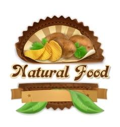 Tasty potatoes label design vector image