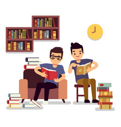 two boys reading books self-education flat concept vector image