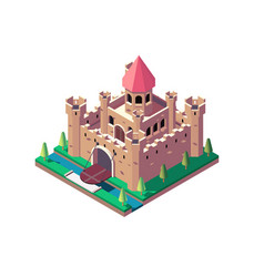 3d isometric medieval castle with open gate and vector image