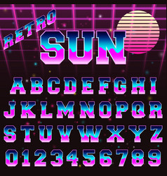 80s retro alphabet font template vector