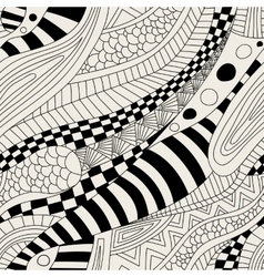 Abstract entangle doodle waves seamless pattern vector