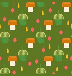 Acorn pattern with mushrooms background for web vector