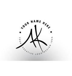 Ak handwritten letters logo design with circular vector