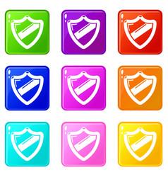 Antivirus installation icons set 9 color vector