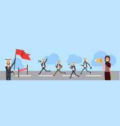 Arab businessman crossing finish line wear office vector