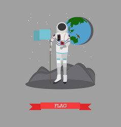 astronaut with flag in flat vector image