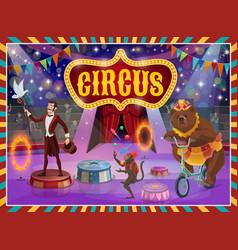 Big top circus show magician animals performance vector