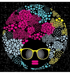Black head woman with strange pattern hair vector image