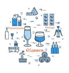 blue round banner - wine glasses vector image