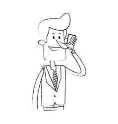 Businessman making cellphone call icon image vector
