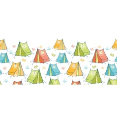 Camp tents horizontal seamless pattern background vector image