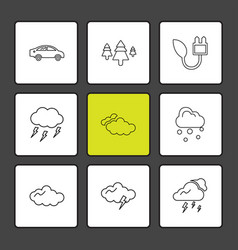 Car tree thunder ecology sun cloud rain vector