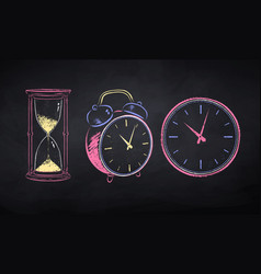 chalk drawn set clock vector image