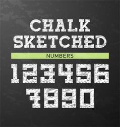 Chalk sketched numbers vector