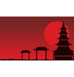 Chinese theme landscape of silhouettes vector
