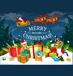 Christmas gift and santa sleigh greeting card vector