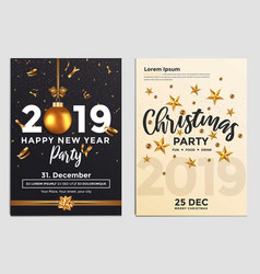 christmas party flyer design- golden design 2019 2 vector image