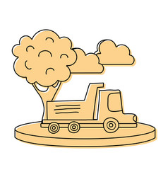 color dump truck in the city with clouds and tree vector image