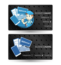 Computer hardware repair business card vector