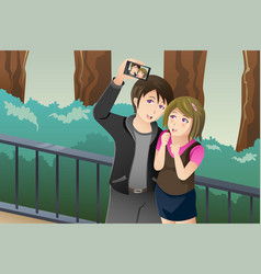 couple taking a selfie picture of themselves vector image