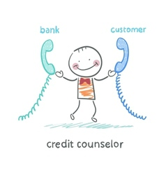 credit counselor talking on the phone with the vector image
