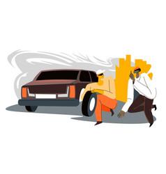 Culprits stealing car tyre at city stolen tires vector