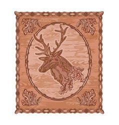 Deer and oak leaves and acorns woodcarving vector