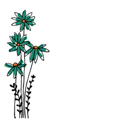 Design of hand drawn doodle flowers set on white vector