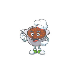 Dish baked beans with cartoon chef mascot vector