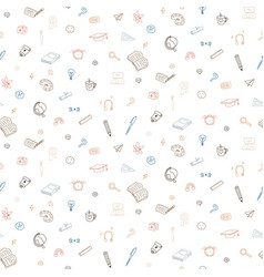 Doodle back to school icons seamless vector