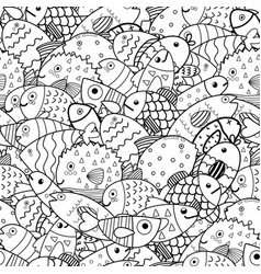 doodle fish black and white seamless pattern sea vector image